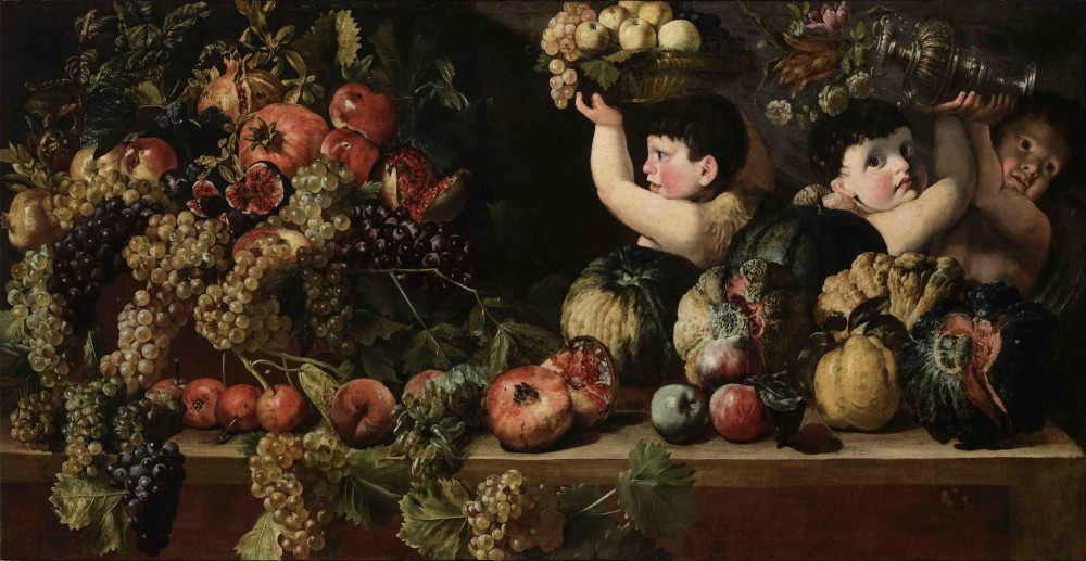 """<div class=""""artist""""><strong>Michelangelo Cerquozzi, called Michelangelo delle Battaglie</strong></div><div class=""""title_and_year""""><em>Still Life of Fruit with Three Figures of Children (Allegory of Autumn)</em></div><div class=""""medium"""">Oil on canvas</div><div class=""""dimensions"""">73.5 x 144 cm (29 x 56 3/4 in.)</div>"""