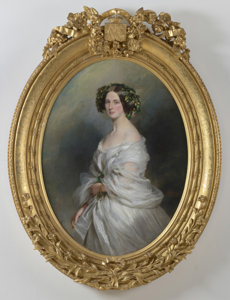 "<div class=""artist""><strong>Franz Xaver Winterhalter</strong></div><div class=""title_and_year""><em>A Portrait of A Lady; Therese Freifrau Von Bethmann, nee Freiin Vrints V Treuenfeld</em>, <span class=""title_and_year_year"">1850</span></div><div class=""medium"">Oil on canvas</div><div class=""dimensions"">130 x 100 cm / 51.1 x 39.3 in<br/> frame: 183 x 137 x 16 cm</div>"