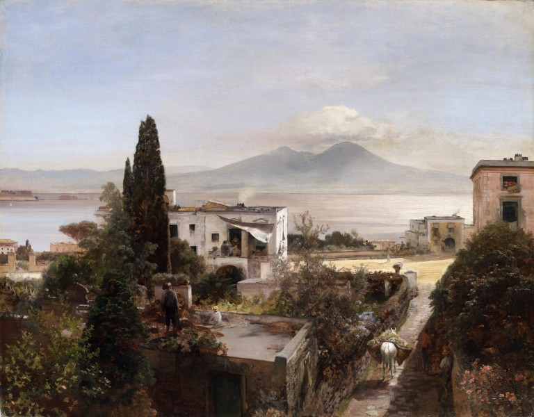 """<div class=""""artist""""><strong>Oswald Achenbach</strong></div><div class=""""title_and_year""""><em>View of the Bay of Naples with Vesuvius, at Sunset</em>, <span class=""""title_and_year_year"""">1885</span></div><div class=""""medium"""">Oil on canvas</div><div class=""""dimensions"""">79.5 x 101 cm (31 1/4 x 39 3/4 in.)</div>"""