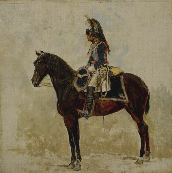 """<div class=""""artist""""><strong>Jean Louis Ernest Meissonier</strong></div><div class=""""title_and_year""""><em>Cavalryman</em>, <span class=""""title_and_year_year"""">1876</span></div><div class=""""medium"""">Oil on canvas</div><div class=""""dimensions"""">24.4 x 24.8 cm (9 5/8 x 9 3/4 in.)</div>"""