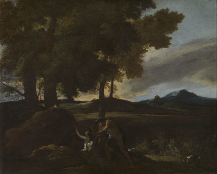 """<div class=""""artist""""><strong>Nicolas Poussin</strong></div><div class=""""title_and_year""""><em>Apollo and Daphne</em>, <span class=""""title_and_year_year"""">1626</span></div><div class=""""medium"""">Oil on canvas</div>"""
