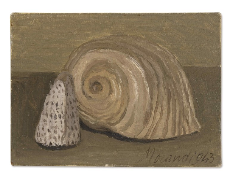 <div class=&#34;artist&#34;><strong>Giorgio Morandi</strong></div> 1890 - Bologna - 1964 <div class=&#34;title&#34;><em>Natura Morta</em>, 1943</div> <div class=&#34;signed_and_dated&#34;>Signed and dated 943</div> <div class=&#34;medium&#34;>Oil on canvas</div> <div class=&#34;dimensions&#34;>22.3 x 30.3 cm / 8.8 x 11.9 in</div>