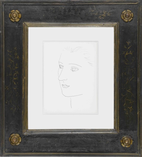 """<div class=""""artist""""><strong>Pablo Picasso</strong></div><div class=""""title_and_year""""><em>Head of a Woman (Sara Murphy)</em>, <span class=""""title_and_year_year"""">1923</span></div><div class=""""medium"""">Indian ink on paper</div><div class=""""dimensions"""">36.5 x 26.5 cm (14 3/8 x 10 3/8 in.)</div>"""
