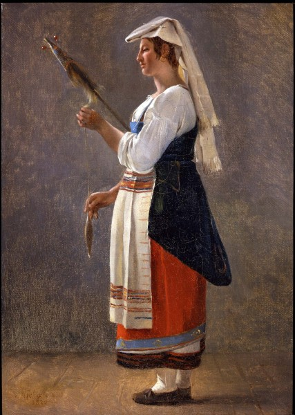 """<div class=""""artist""""><strong>Achille Etna Michallon</strong></div><div class=""""title_and_year""""><em>Pair: Study of Peasant girl - Paysanne romaine filant au fuseau & Study of Italian man</em>, <span class=""""title_and_year_year"""">1820</span></div><div class=""""medium"""">Oil on paper on canvas</div><div class=""""dimensions"""">Girl: 35.1 x 24.3 cm (13 7/8 x 9 5/8 in.)<br/> Man: 34.3 x 23.8 cm (13 1/2 x 9 3/8 in.)</div>"""