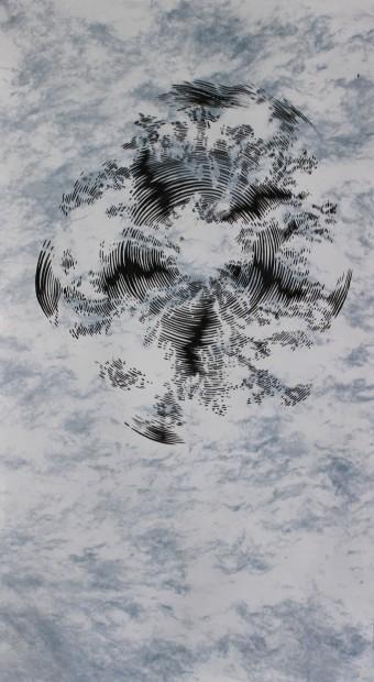 """<span class=""""artist""""><strong>Abdelkader Benchamma</strong></span>, <span class=""""title""""><em>Blue Beam D - Fake Sky</em>, 2013</span>"""