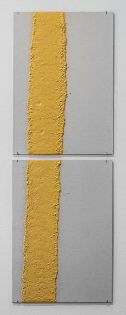 <span class=&#34;artist&#34;><strong>Vikram Divecha</strong></span>, <span class=&#34;title&#34;><em>100mm (W), 1.5mm (T), Yellow, edge line (613), machine marking, Al Khawaneej 1, St 120,</em>, 2017</span>