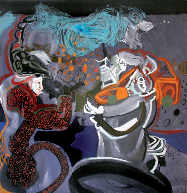 """<span class=""""artist""""><strong>Rokni Haerizadeh</strong></span>, <span class=""""title""""><em>Pagans Dueling in the Steet</em>, 2008</span>"""