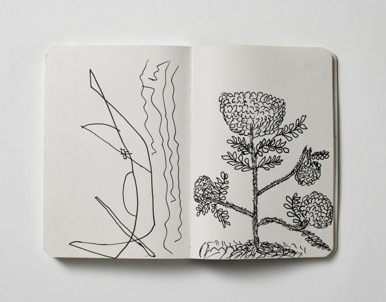"""<span class=""""artist""""><strong>Mohammed Mostafa Mohammed Junu Mia, Vikram Divecha</strong></span>, <span class=""""title""""><em>Sketchbook 3</em>, 2017</span>"""