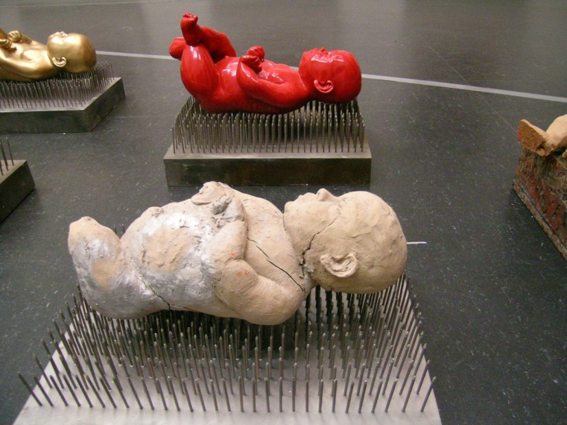 "<span class=""title"">Bita Fayyazi Creche 15 fibergalss sculptures on metal plinths nails and resin Between Taboo and Trasvendance Pergamon Museum Berlin, Germany, 2008</span>"