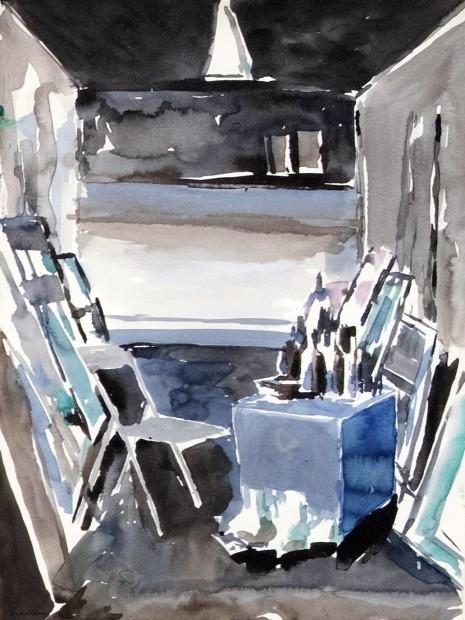 "<div class=""artist""><strong>Mohammed Kazem</strong></div><div class=""title""><em>Studio</em>, 1990</div><div class=""medium"">Watercolour on paper</div><div class=""dimensions"">40.5 x 30 cm</div>"