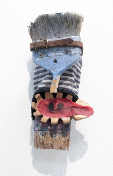 "<div class=""page"" title=""Page 1""><div class=""layoutArea""><div class=""column""><p>He was a frightened dude, with calm eyes, 2018, Shoe, paint brush, leather dog collar, wooden spatula, fabric and acrylic, 28 x 15 x 12 cm<span><br /> </span></p></div></div></div>"