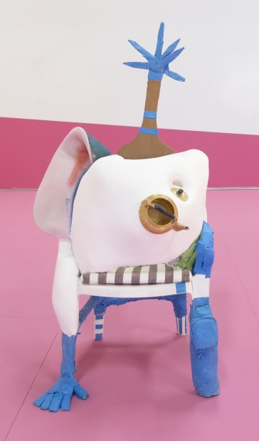 <div><em>Love Trap</em>, 2014-16</div><div>Plastic chair, plaster, plastic plates, fake fruits, tape, cardboard, aluminium pot, cushion and fabric, sponge, fake bread, plastic forks, fabric, thread, masking tape, wood, paper, aluminium teapot, canvas and glass</div><div>160 x 95 x 60 cm</div><div>(C/SC 084)</div>