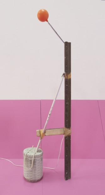 <div><em>Immigrant II,</em> 2016–17</div><div>Neon tube, ornamented frame sections, molded cement, ready-made walking aid stick, synthetic rope, jute rope and floating ball</div><div>300 x 25 x 60 cm (variable dimensions)</div>