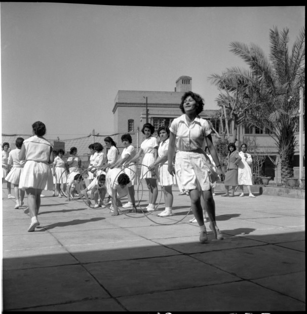 "<div class=""title""><em>Sports in School, Baghdad, 1960</em>, 2019</div><div class=""medium"">Inkjet print on Hahnemuhle fine art photo rag pearl 320 gsm paper</div><div class=""dimensions"">100 x 100 cm</div><div class=""edition_details"">Edition of 3 (+2 AP)</div><div class=""edition_details""><p class=""p1""> </p><p class=""p1"">Latif Al Ani Collection, courtesy of the Arab Image Foundation and Gallery Isabelle van den Eynde, Dubai. </p></div>"