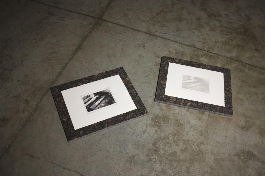 <p><strong>Vikram Divecha</strong></p><p><em>Shadow over granite floor, Ancestor Figure (1979.206.1561), Gallery 354, Metropolitan Museum of Art</em><em>,</em>2018</p><p>Photogravure (print and ghost print)<br />29 x 38.4 cm (each)</p>