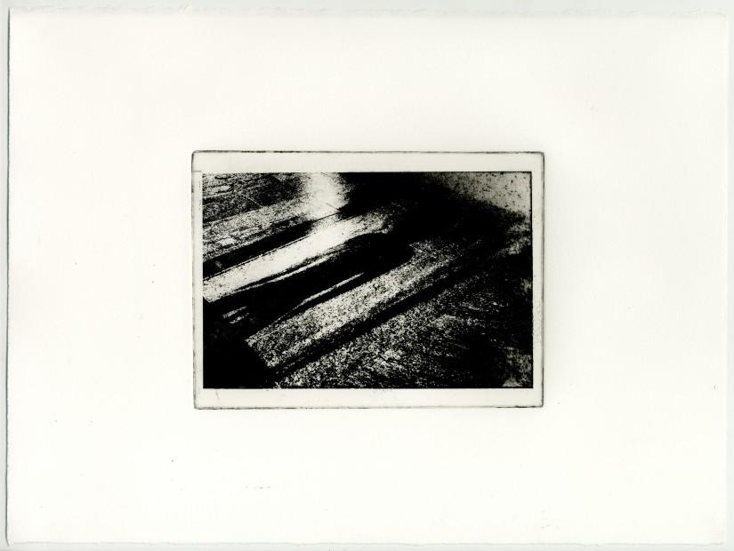<p><strong>Vikram Divecha</strong></p><p><em>Shadow over granite floor, Ancestor Figure (1979.206.1561), Gallery 354, Metropolitan Museum of Art</em><em>,</em>2018</p><p>Photogravure (print and ghost print)<br />29 x 38.4 cm</p>
