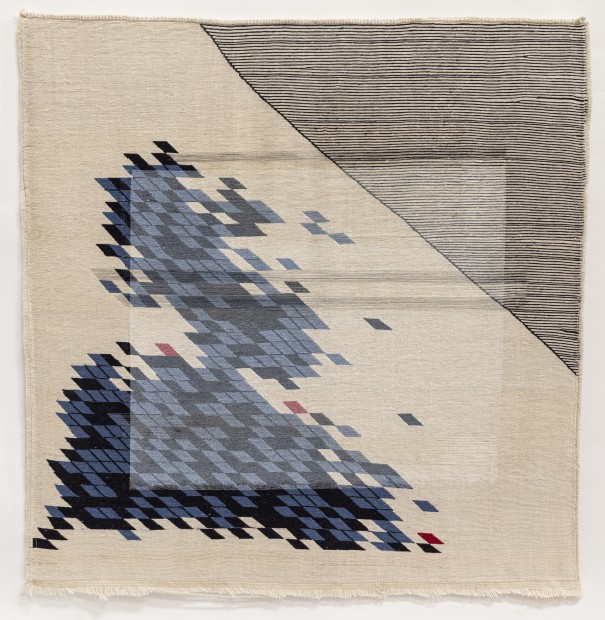 <p><b>Haleh Redjaian</b><br /><i>Untitled</i>, 2020<br />Threads on hand woven textile<br />100 x 100 cm</p>