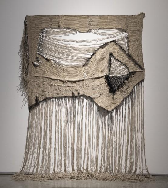 "<div class=""artist""><strong>Manal AlDowayan</strong></div><div class=""title""><em>The Recline</em>, 2021</div><div class=""medium"">Natural yarns and acrylic</div><div class=""dimensions"">345 x 220 cm</div>"