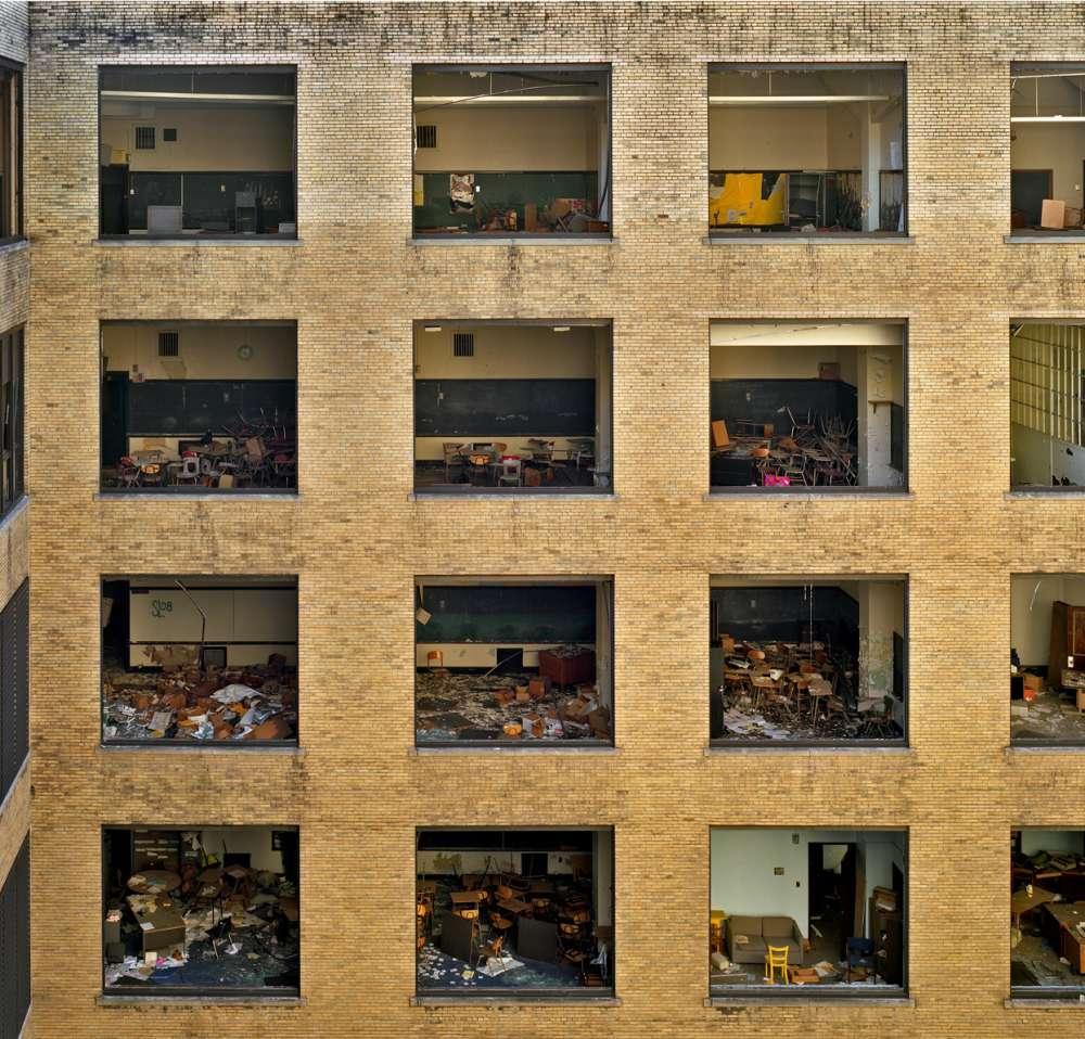 Andrew Moore, Cass Tech Courtyard, Detroit, 2008