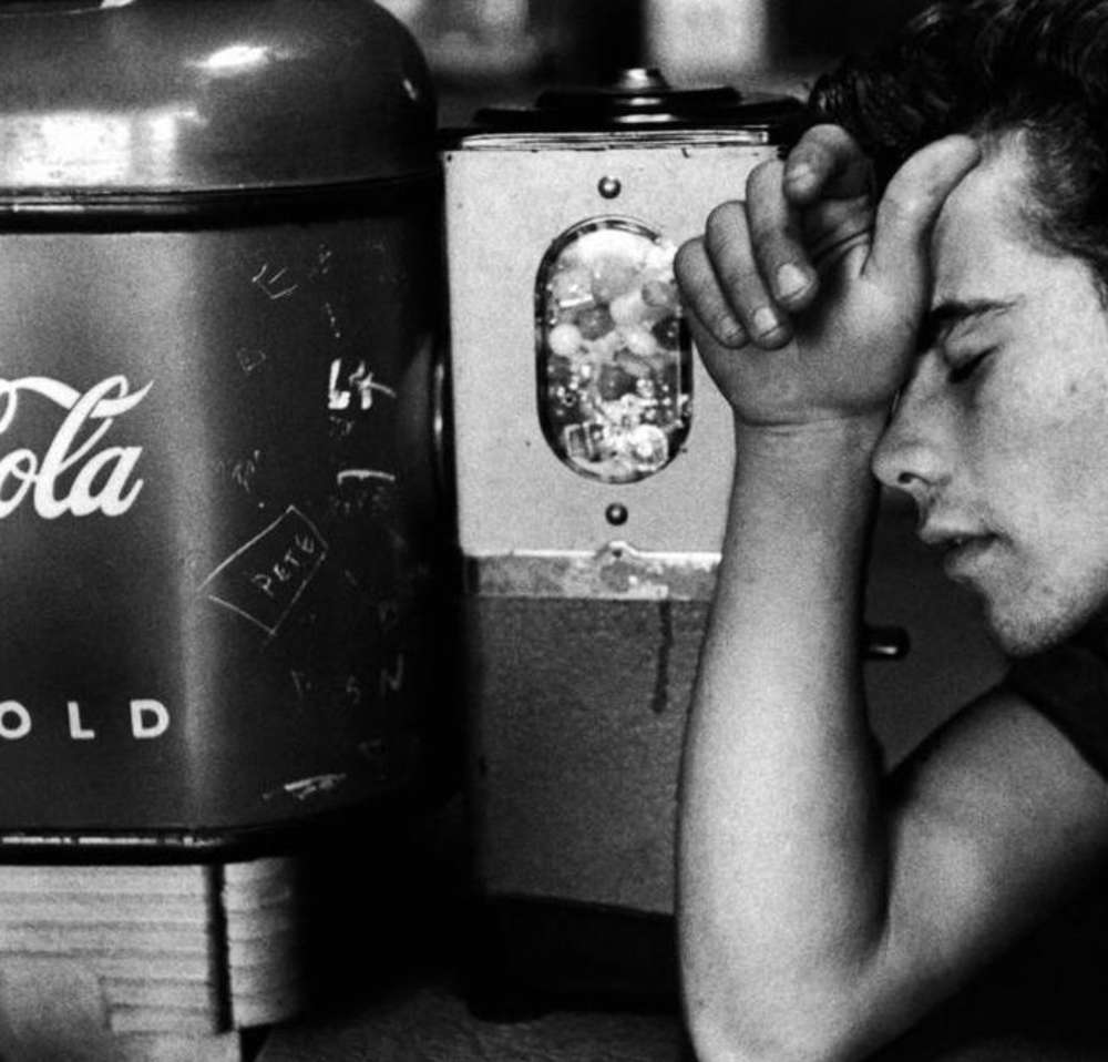 Bruce Davidson - Brooklyn Gang (Girl Fixing Hair in Cigarette Machine Mirror)