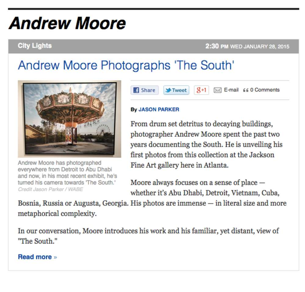 """Andrew Moore Discusses Photographing 'The South' for WABE's """"City Lights"""""""