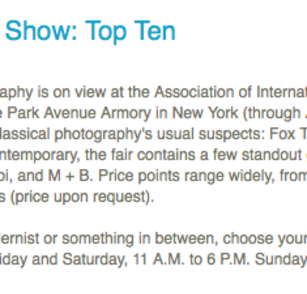 Arts in America Magazine rates Jackson Fine Art in the Top Ten at AIPAD