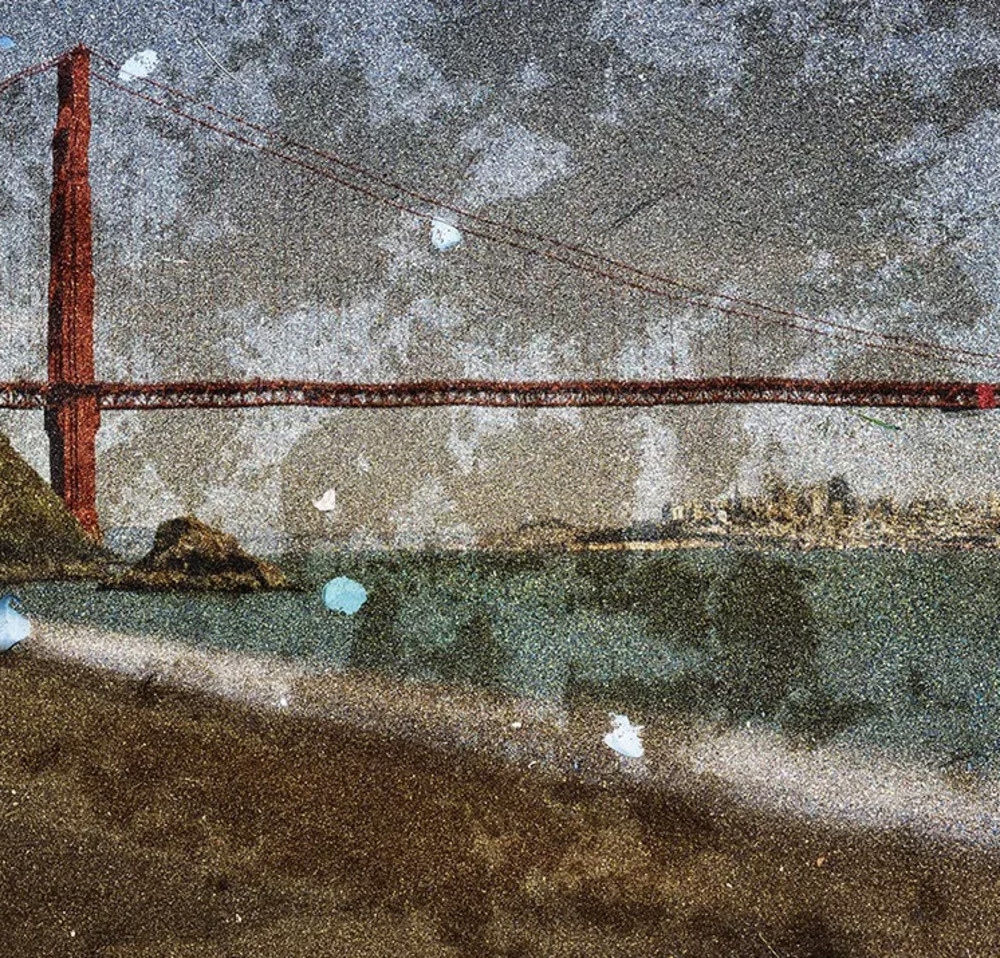 Abelardo Morell - Tent Camera Image on Ground- View of the Golden Gate Bridge From Kirby Cove