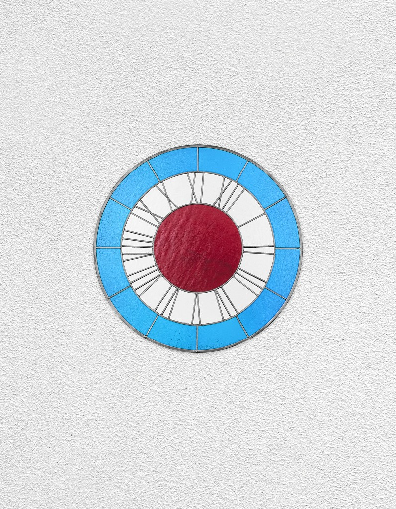blue white red clock