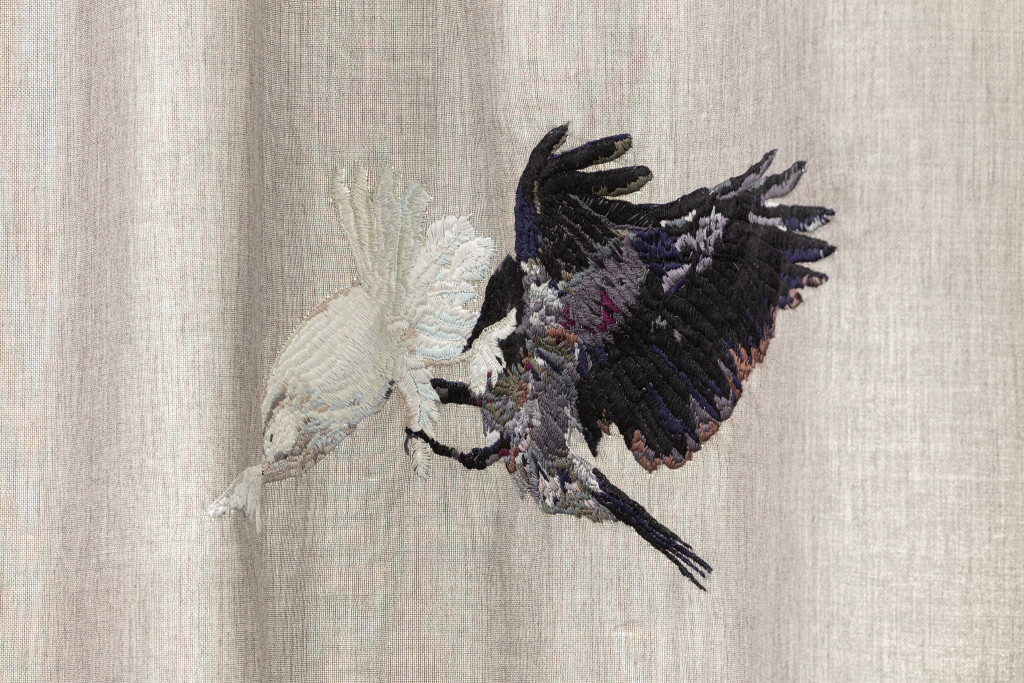 Isa Melsheimer, Embroidered Curtain Appliqué, 2020