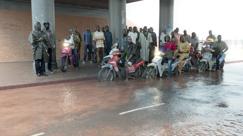 Oil workers (from the Shell company of Nigeria) returning home from work, caught in torrential rain