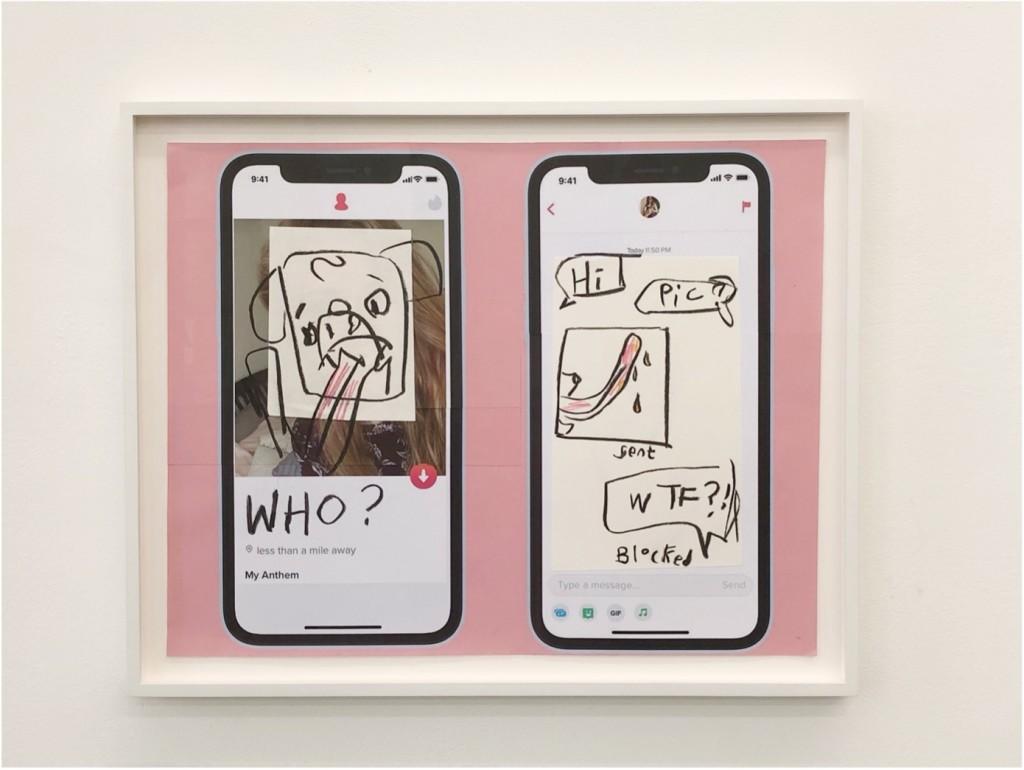 Simon Fujiwara, Who's on Tinder? (Pink Profile), 2021