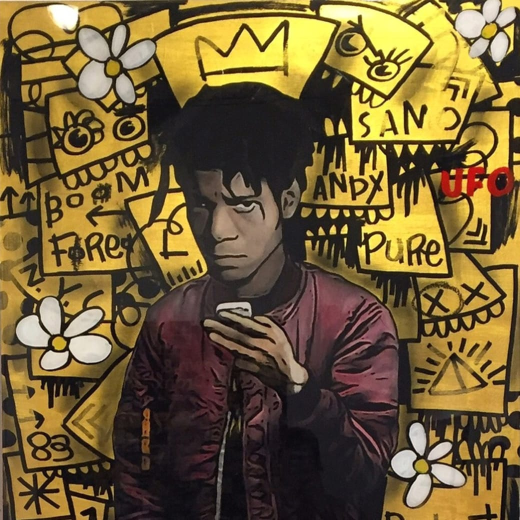 """Detail from The Producer BDB's """"Basquiat - Gold"""" acrylic and enamel on wood panel with resin mixed media artwork"""