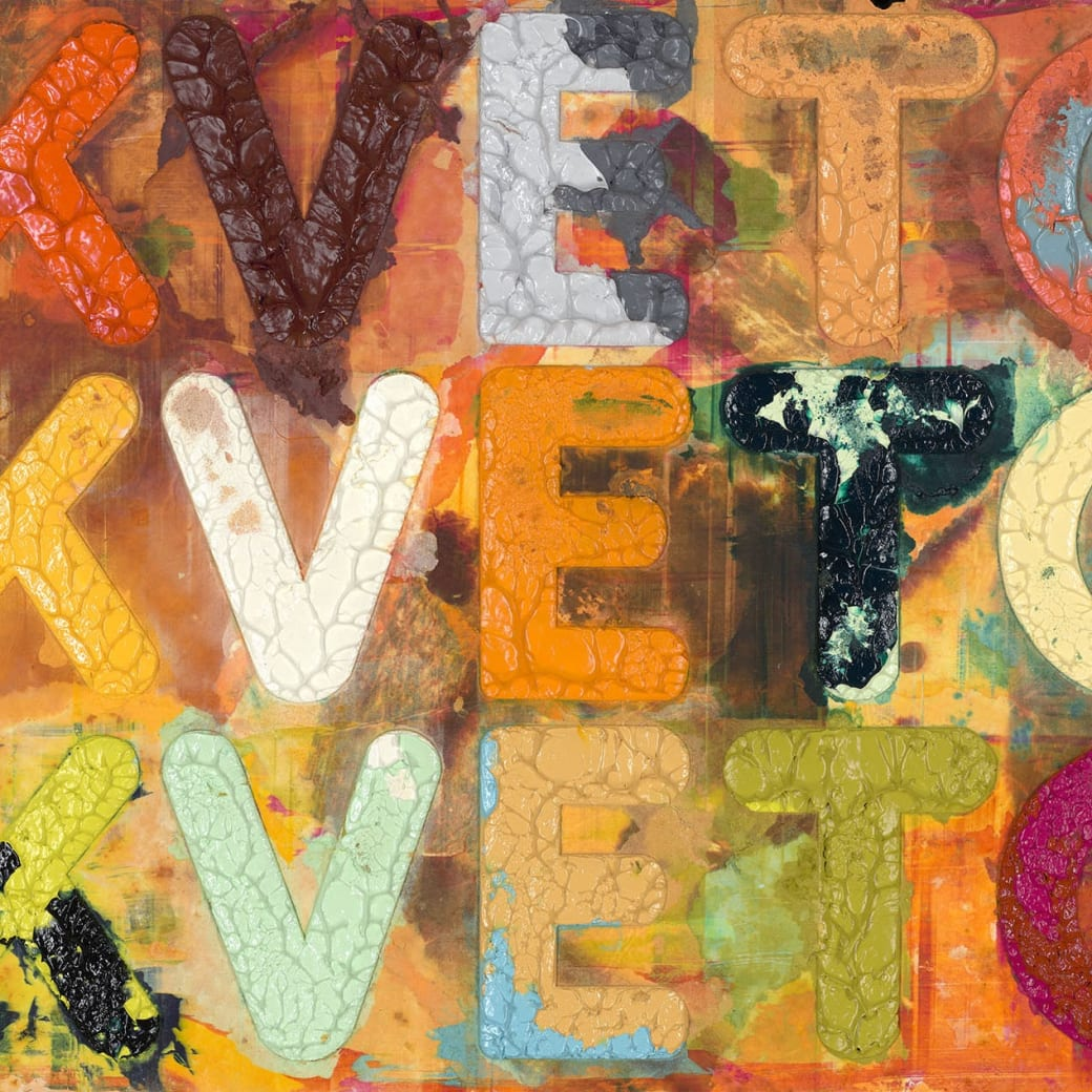 "Detail from Mel Bochner's ""Kvetch"" monoprint with collage, engraving and embossment on hand-dyed Twinrocker handmade paper"