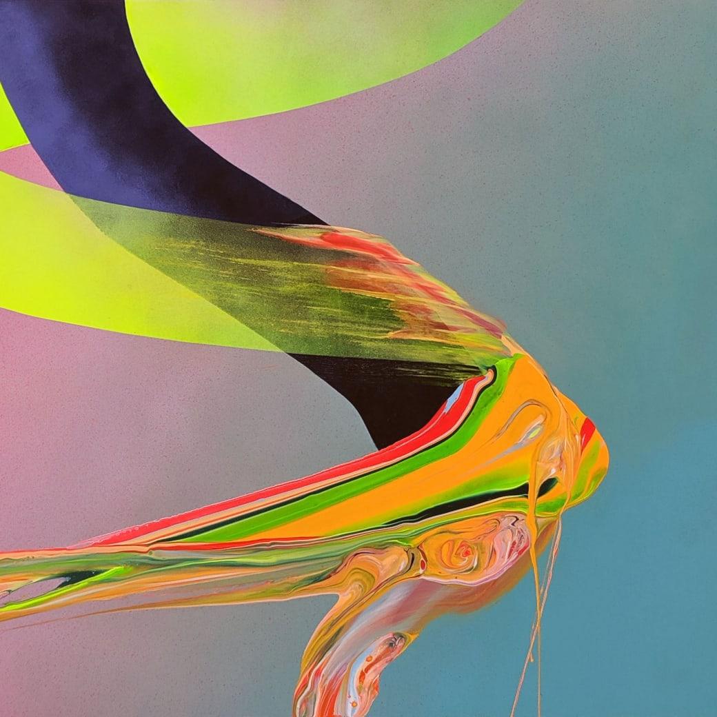 """Detail from Erik Minter's """"Vice"""" spray paint and acrylic on aluminum painting"""