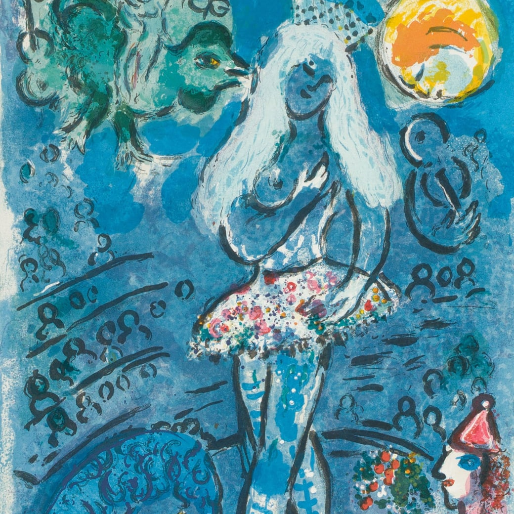 """Detail from """"L'equillibriste (The Tightrope)"""" color lithograph by artist Marc Chagall"""