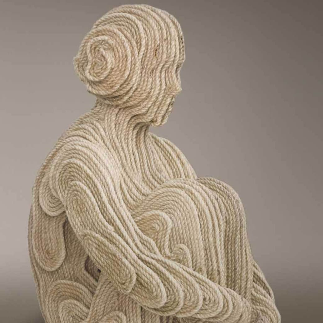 """Hopi Girl"" rope sculpture by artist Mateo Blanco"