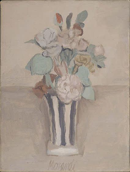 Giorgio Morandi. Flowers (Fiori), 1950. Oil on canvas, 35 x 26.5 cm. Fondation Mattioli Rossi, Switzerland © Giorgio Morandi