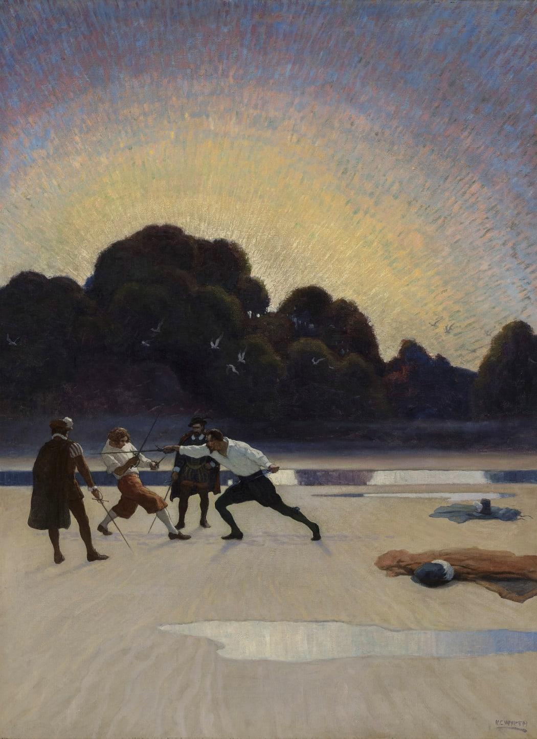 N.C. Wyeth, The Duel on the Beach, 1920
