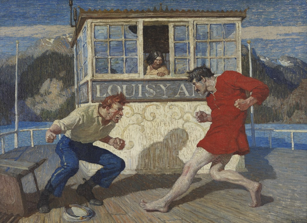 N.C. Wyeth, From the Stern to the Pilot House they Danced and Struck and Howled, 1915
