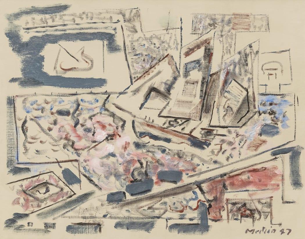 John Marin, Movement, Sea Played with Boat Motive, 1947