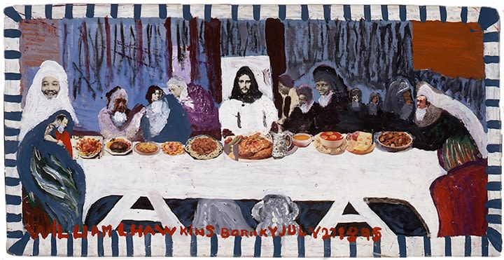 "Untitled  (""Last Supper #6″), 1986. Enamel and collage on masonite. 24.5″ x 48"""
