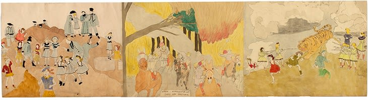 Side A: They are captured by Glandelinian soldier/After Osmondson they are rescued/At Rassing Hogan are attacked by a tiger which they kill, c. 1940-50, watercolor, carbon transfer and pencil on pieced paper, 19 x 70 in.