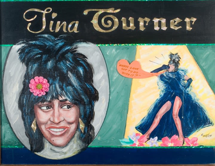 Tina Turner, undated, mixed media on board, 21 ins. x 27.5 ins.