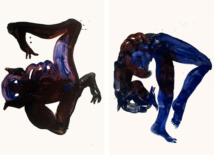 Both images: Untitled; 2012; acrylic, iron and ink; 44 x 30 in.