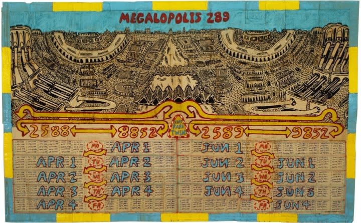 Megalopolis 289, 2010, mixed media on paper, 24.5 x 35.5 in