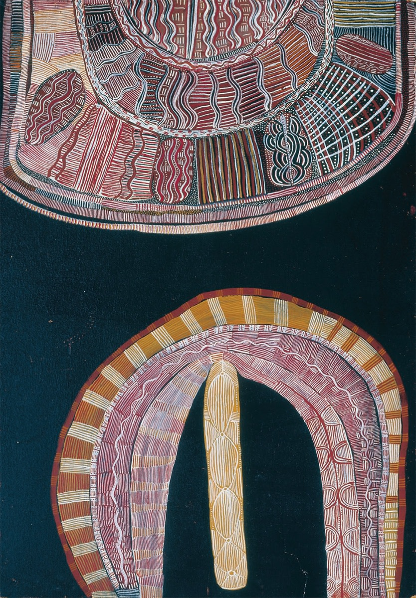 Mick Namararri Tjapaltjarri (c. 1927-1998). Pintupi, Big Cave Dreaming with Ceremonial Object, late 1972, synthetic polymer powder paint on composition board, 36 x 25.25 in. Cat. 32