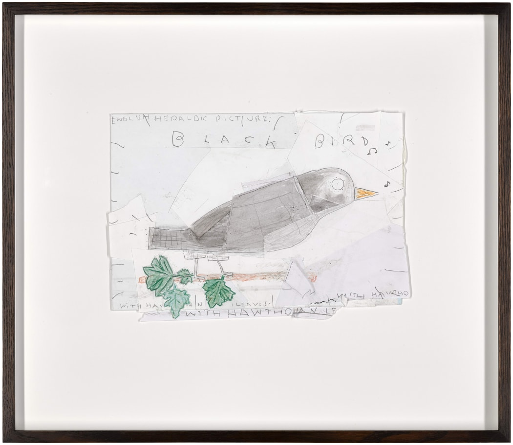 'Black Bird with Hawthorn Leaves', 2015, Rose Wylie