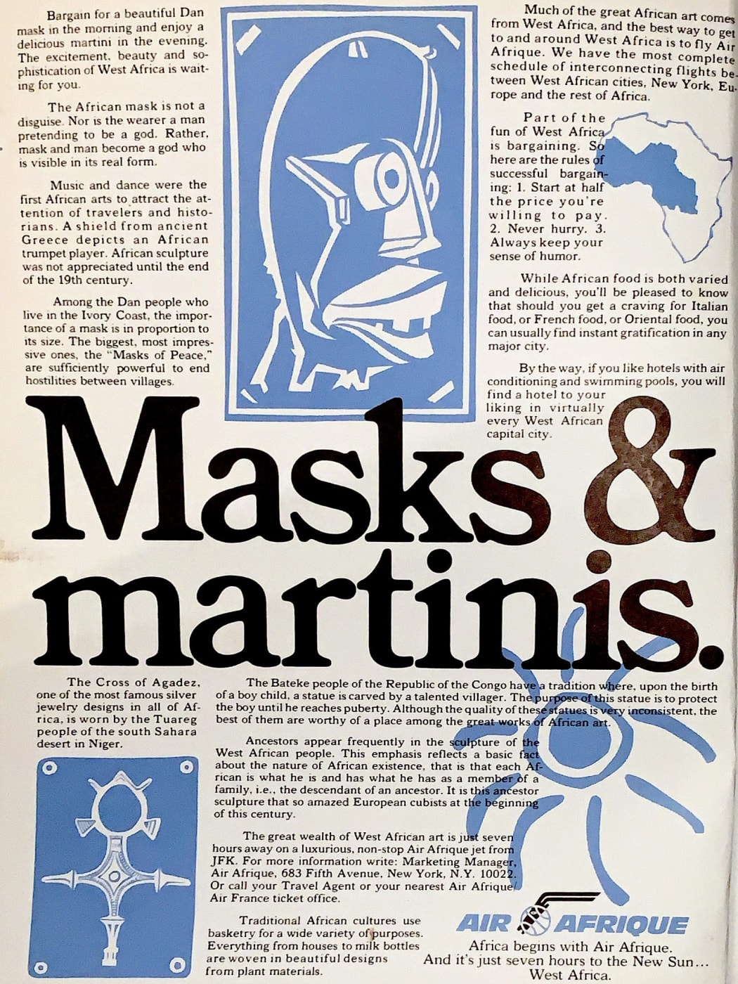 Masks & martinis – an Air Afrique advertisement from 1980
