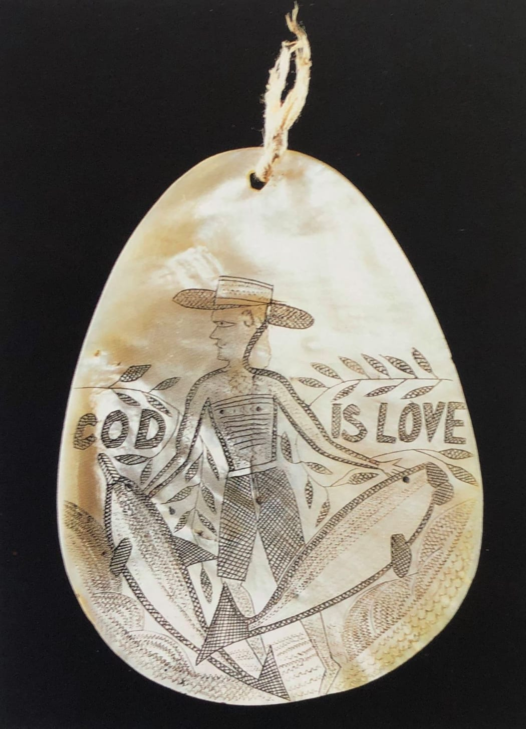"""""""Cod is love"""", a unique pearl shell ornament from Western Australia"""