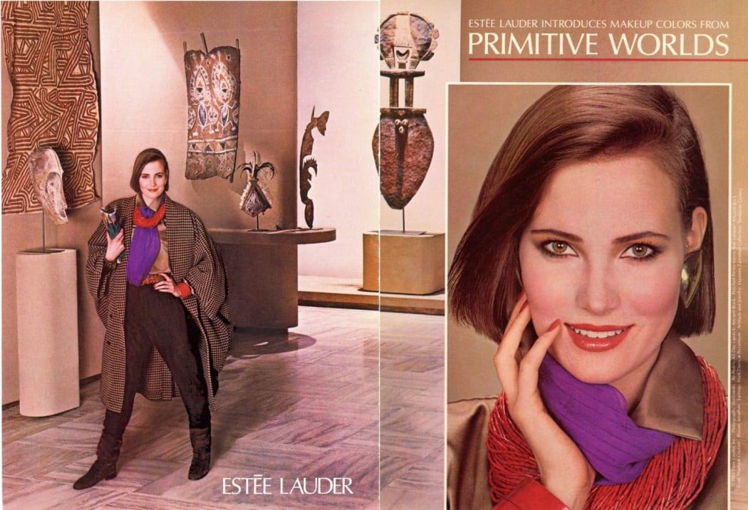 Oceanic and African art in an Estée Lauder advertisement (Fall 1984)